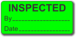 INSPECTED adhesive label, green