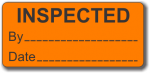 INSPECTED adhesive label, orange, removable