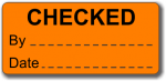 CHECKED adhesive label, orange