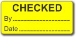 CHECKED adhesive label, yellow