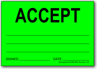 Accept adhesive label, green