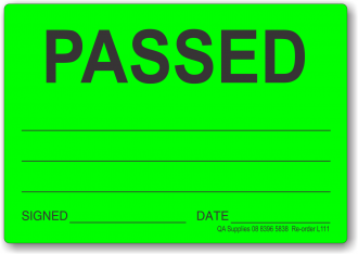 Passed adhesive label, green