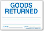 Goods Returned adhesive label, removable