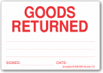 Goods Returned adhesive label, white/red