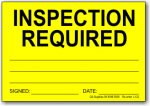 Inspection Required adhesive label, yellow