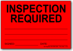 Inspection Required adhesive label, red