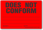 Does Not Conform adhesive label, red, removable