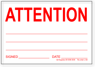ATTENTION adhesive label, white / red print