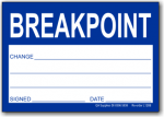 Breakpoint adhesive label, blue