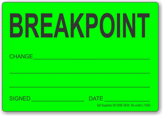 Breakpoint adhesive label, green