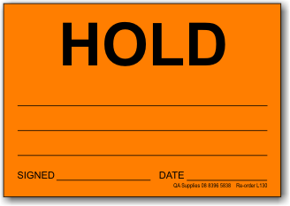 HOLD adhesive label, Orange