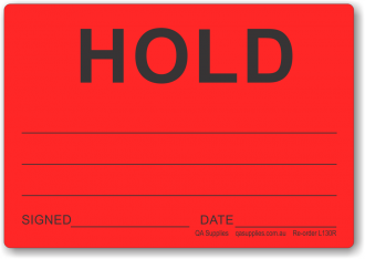 HOLD adhesive label, red