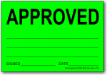 Approved adhesive label, green