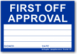 FIRST OFF APPROVAL adhesive label, blue