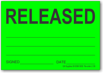 Released adhesive label, green