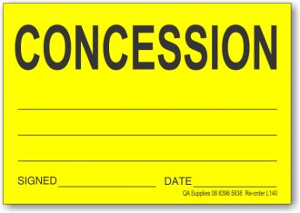 Concession adhesive label, yellow