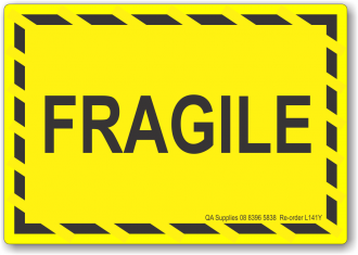Fragile adhesive label, yellow