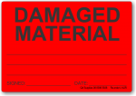 Damaged Material adhesive label, red