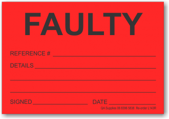 FAULTY adhesive label, red