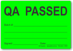 QA PASSED adhesive label, green