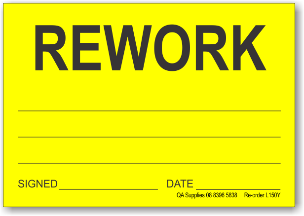 Rework adhesive label, yellow