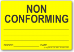 Non Conforming adhesive label, yellow