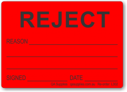 REJECT adhesive label, red