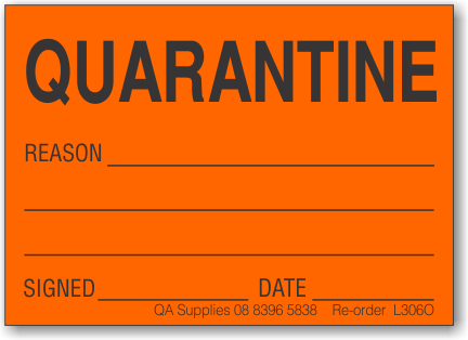 Quarantine adhesive label, orange