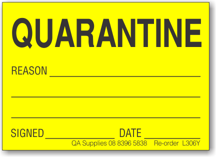 Quarantine adhesive label, yellow