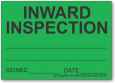 INWARD INSPECTION adhesive label, green