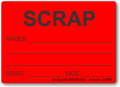 SCRAP adhesive label, red removable
