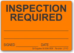 Inspection Required adhesive label, orange