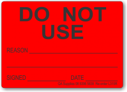 Do Not Use adhesive label, red