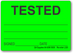TESTED adhesive label, green