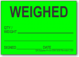 WEIGHED adhesive label, green