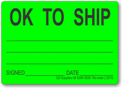 OK To Ship adhesive label, green