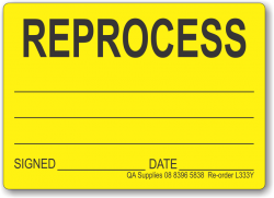 REPROCESS adhesive label, yellow