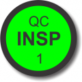 QC Insp 1 adhesive label, green