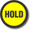 HOLD adhesive label, yellow