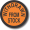 Withdrawn From Stock adhesive label, orange