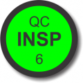 QC Insp 6 adhesive label, green