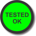 Tested OK adhesive label, green