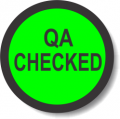 QA CHECKED adhesive label, green