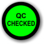 QC Checked adhesive label, green