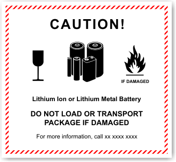 Lithium Ion Battery warning label