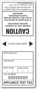 Electrical Test Tags, 1 year - black