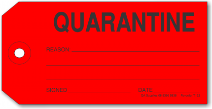 QUARANTINE tag, red