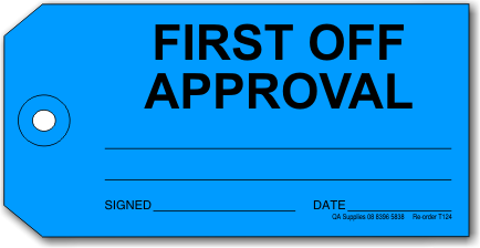 First Off Approval tag, blue
