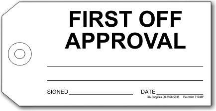 First Off Approval tag, white