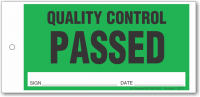 QUALITY CONTROL PASSED tie-on tag, DuroTuff, Green